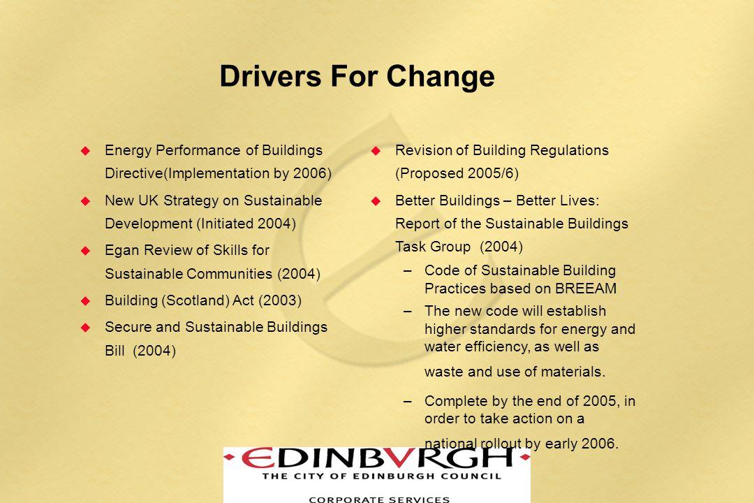 Edinburgh Context  Council Vision  New Council Policies  Publications - Sustainable Design Guide  Edinburgh Standards for Sustainable Buildings