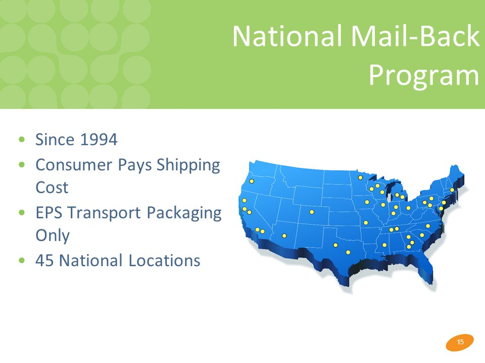 15 National Mail-Back Program Since 1994 Consumer Pays Shipping Cost EPS Transport Packaging Only 45 National Locations