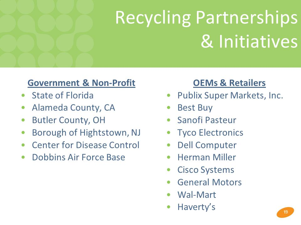 19 Recycling Partnerships & Initiatives Government & Non-Profit State of Florida Alameda County, CA Butler County, OH Borough of Hightstown, NJ Center for Disease Control Dobbins Air Force Base OEMs & Retailers Publix Super Markets, Inc.