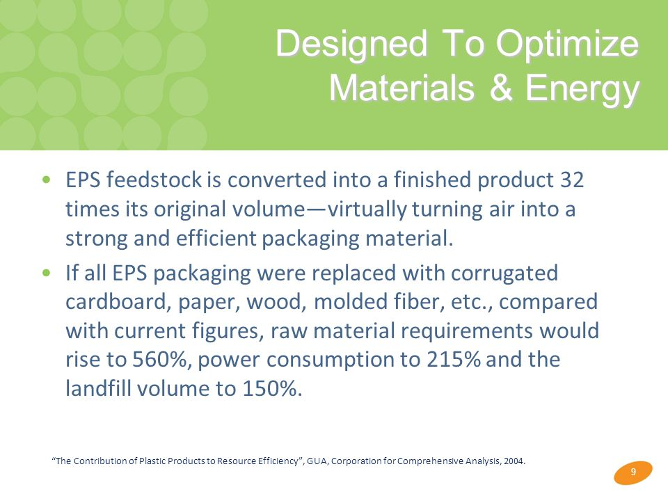 9 Designed To Optimize Materials & Energy Designed To Optimize Materials & Energy EPS feedstock is converted into a finished product 32 times its original volume—virtually turning air into a strong and efficient packaging material.