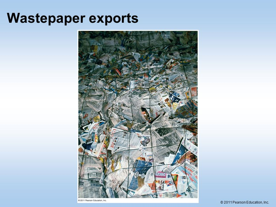 © 2011 Pearson Education, Inc. Wastepaper exports