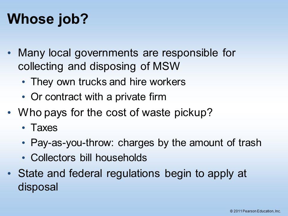 © 2011 Pearson Education, Inc. Whose job.
