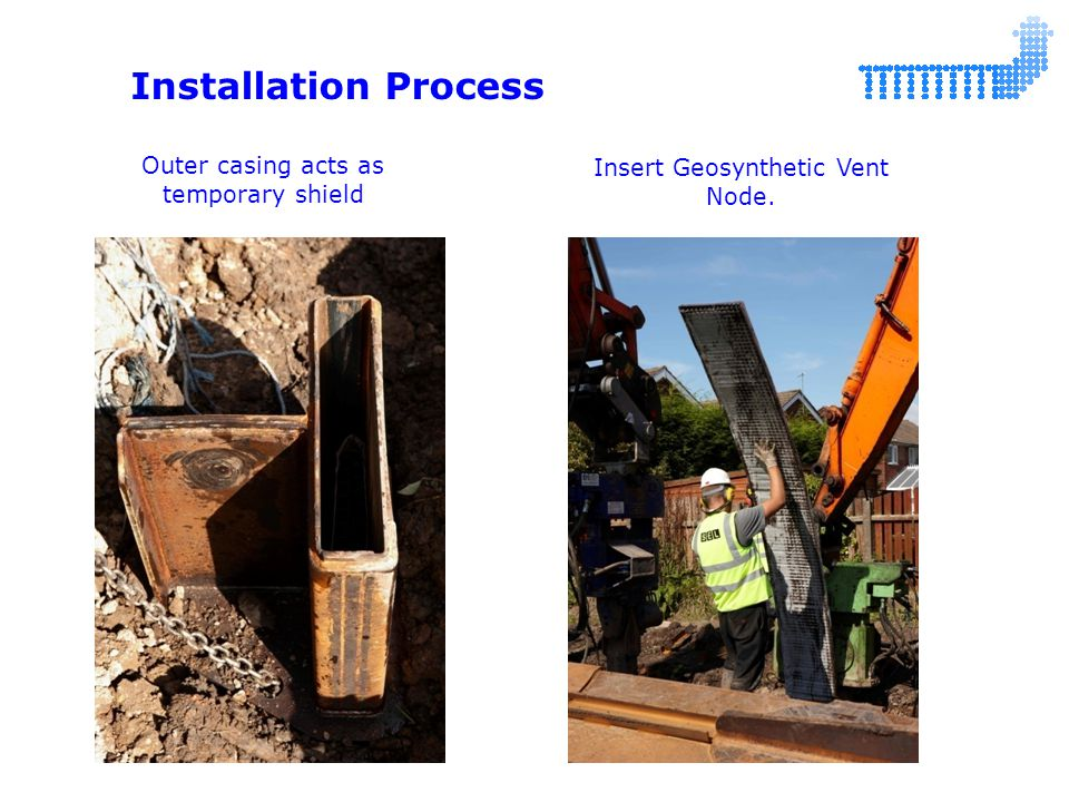 Installation Process Outer casing acts as temporary shield Insert Geosynthetic Vent Node.