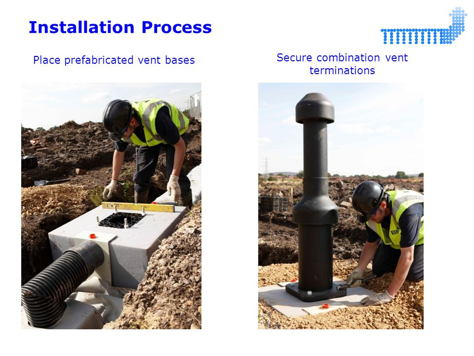 Installation Process Place prefabricated vent bases Secure combination vent terminations