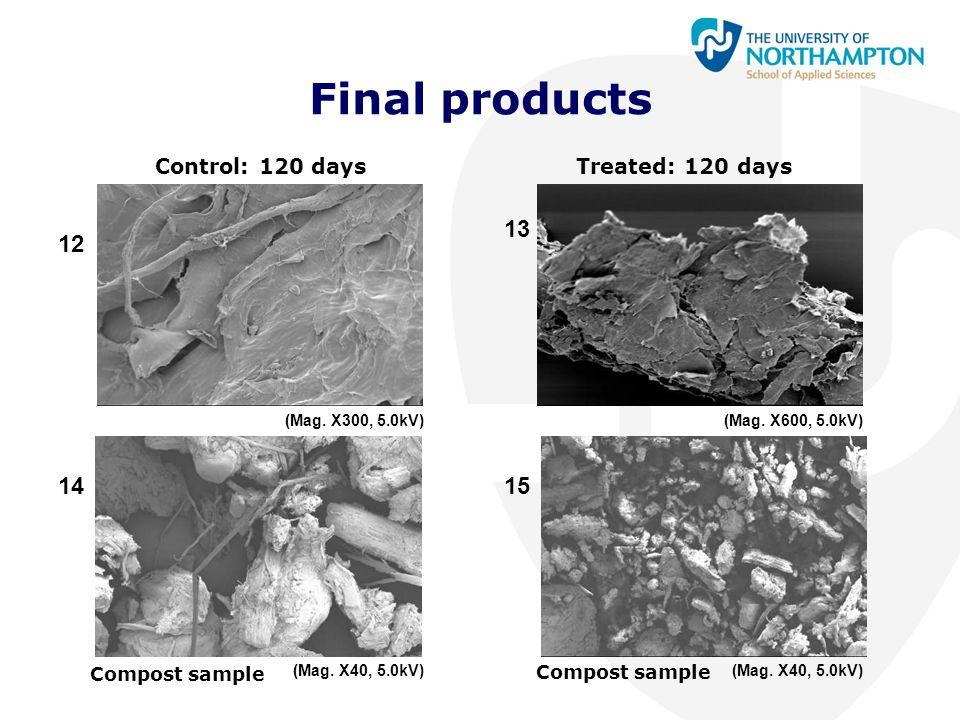Final products 12 14 13 15 Control: 120 daysTreated: 120 days Compost sample (Mag. X300, 5.0kV)(Mag. X600, 5.0kV) (Mag. X40, 5.0kV)