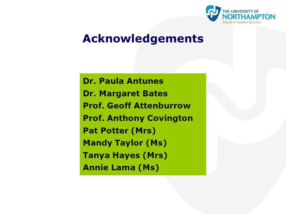 Acknowledgements Dr. Paula Antunes Dr. Margaret Bates Prof. Geoff Attenburrow Prof. Anthony Covington Pat Potter (Mrs) Mandy Taylor (Ms) Tanya Hayes (