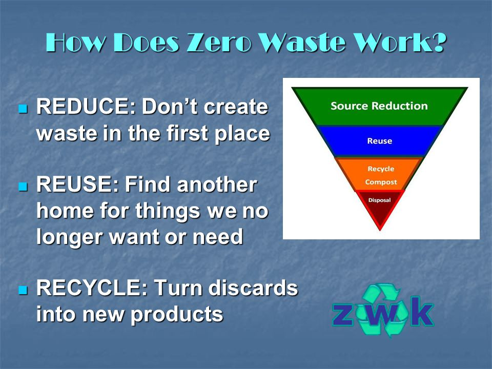 How Does Zero Waste Work? REDUCE: Don't create waste in the first place REDUCE: Don't create waste in the first place REUSE: Find another home for thi