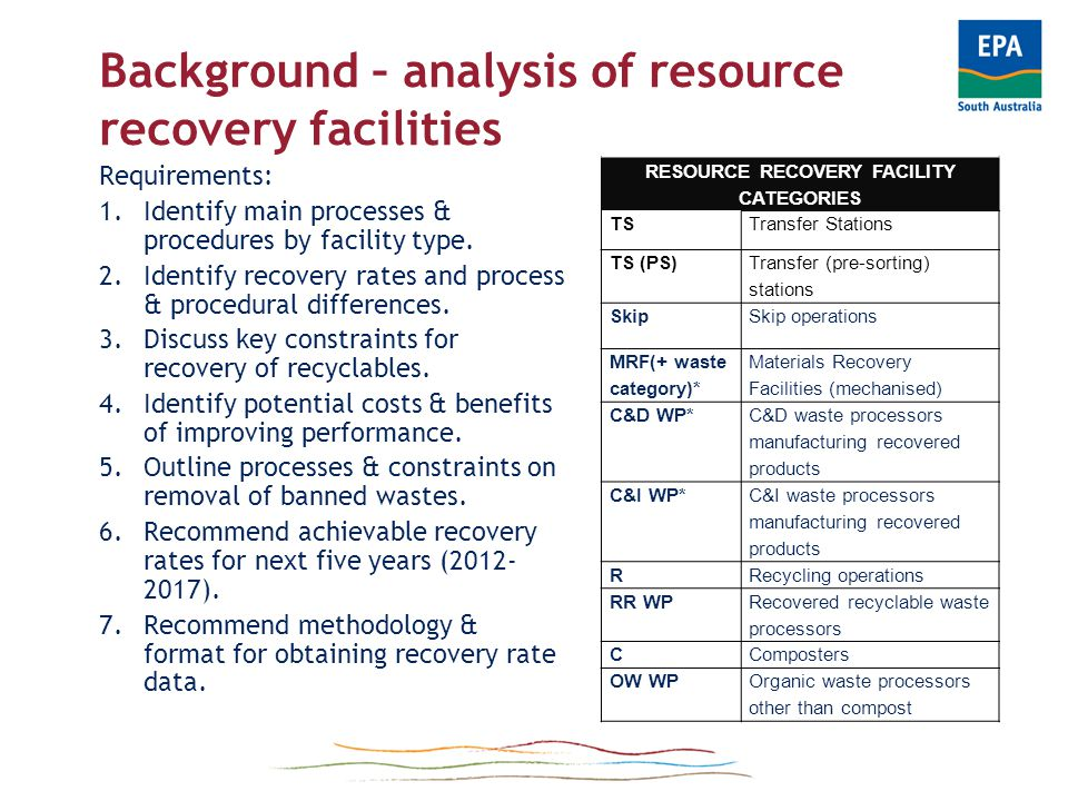 Guidelines on handling banned wastes What needs to be done by: - Transfer stations - Mechanised material recovery facilities - Recycling operations - Recycled product manufacturers - Composting depots - Landfill operators + other waste handlers Image: www.zerowaste.sa.gov.au/resource- centre/image-gallery