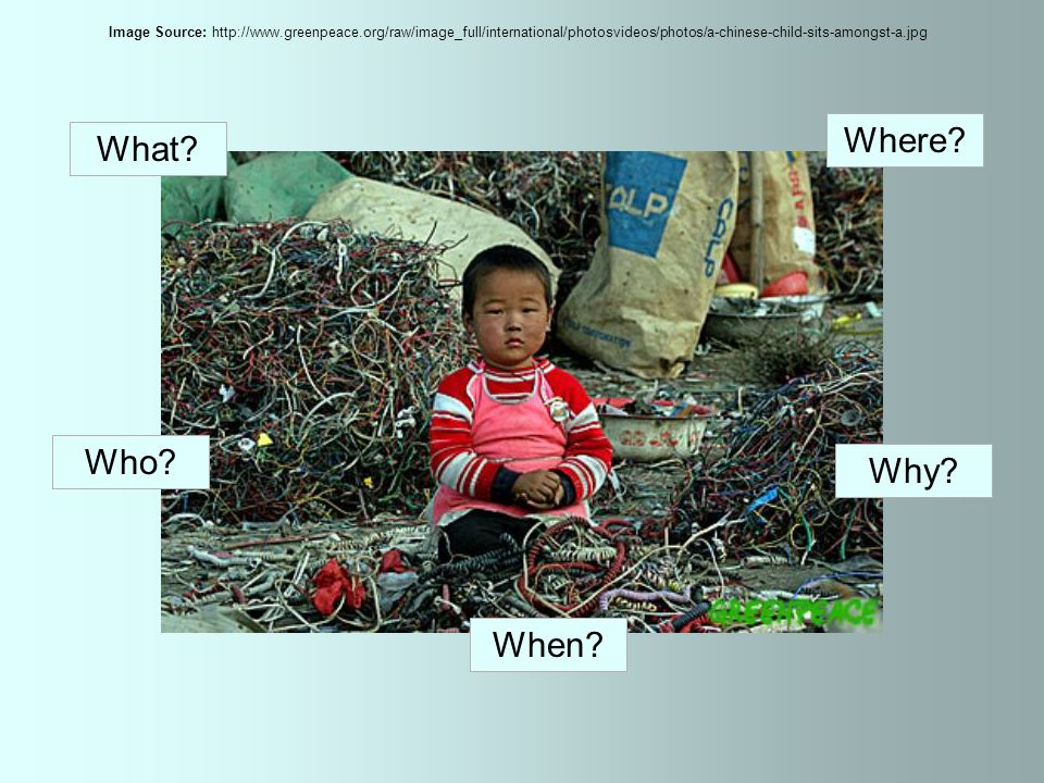 What.Waste from the UK Where. Guiyu, a village in China Who.