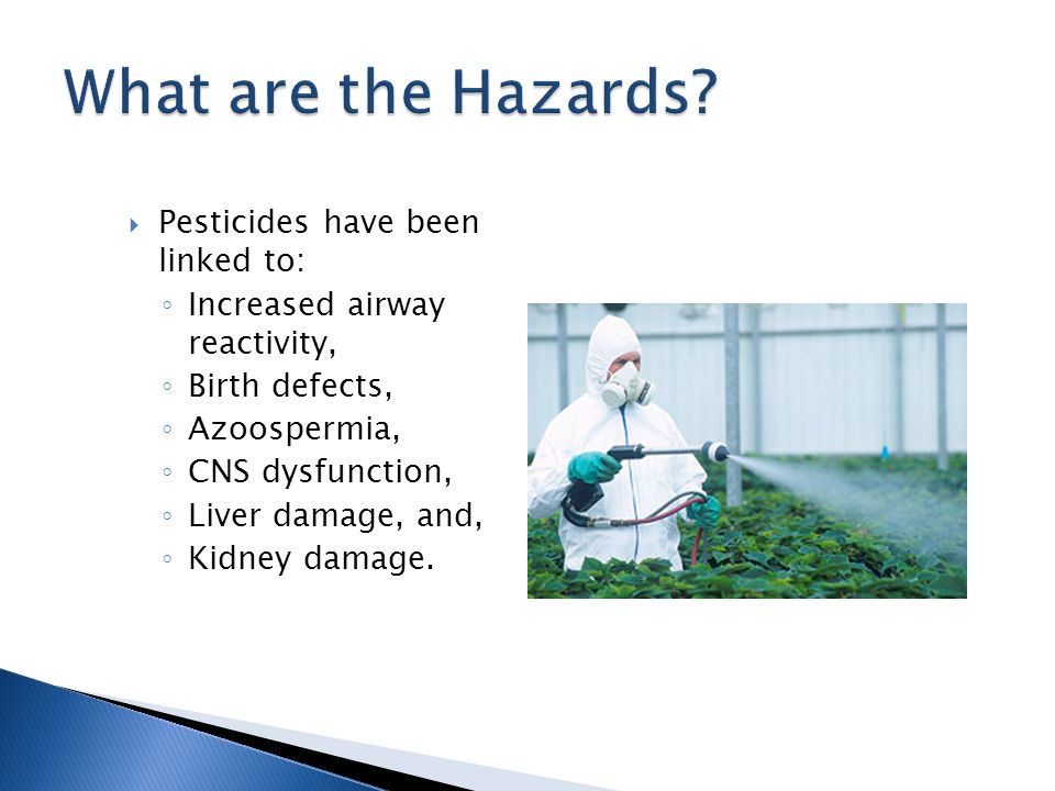  Pesticides have been linked to: ◦ Increased airway reactivity, ◦ Birth defects, ◦ Azoospermia, ◦ CNS dysfunction, ◦ Liver damage, and, ◦ Kidney damage.