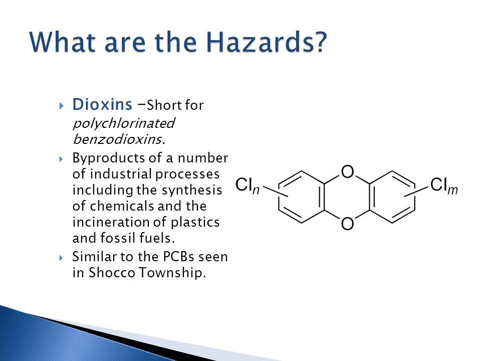  Dioxins – Short for polychlorinated benzodioxins.