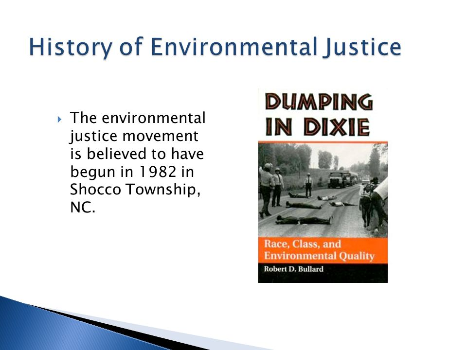  The environmental justice movement is believed to have begun in 1982 in Shocco Township, NC.
