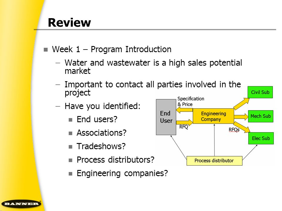 Review Week 1 – Program Introduction –Water and wastewater is a high sales potential market –Important to contact all parties involved in the project –Have you identified: End users.
