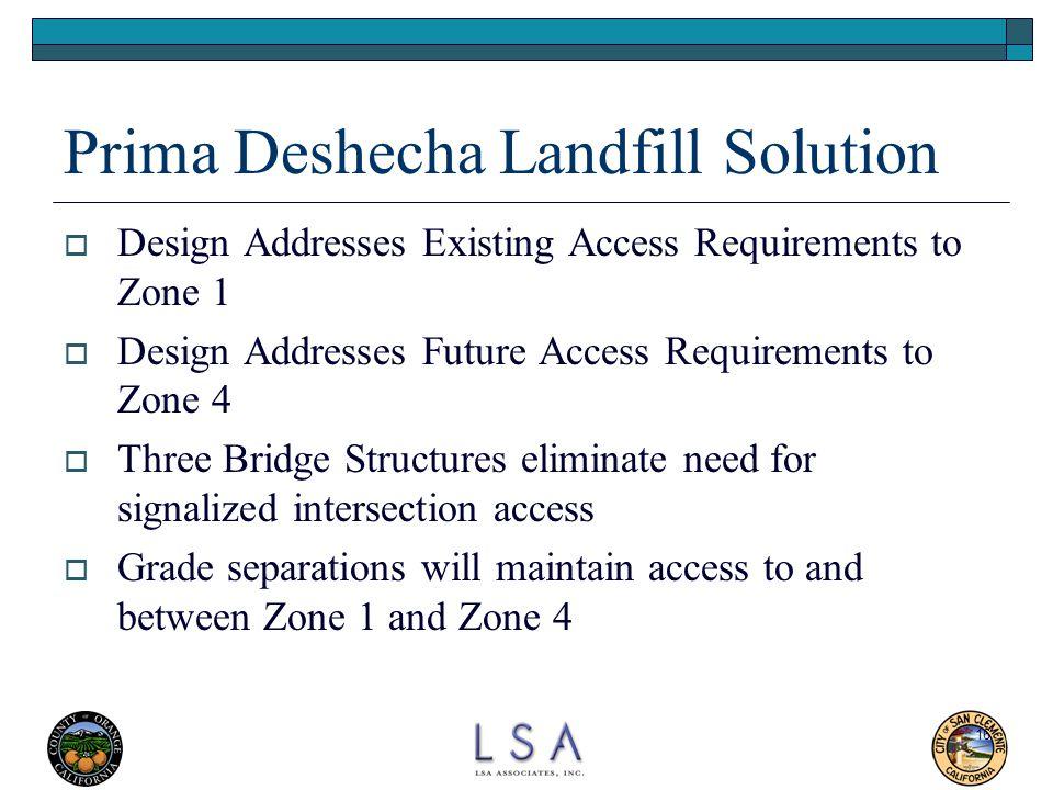 16 Prima Deshecha Landfill Solution  Design Addresses Existing Access Requirements to Zone 1  Design Addresses Future Access Requirements to Zone 4