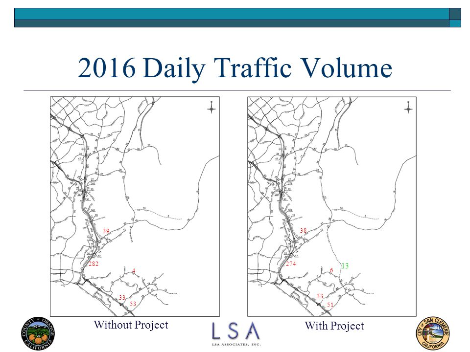 30 2016 Daily Traffic Volume Without Project With Project 4 33 53 282 39 13 6 51 33 38 274