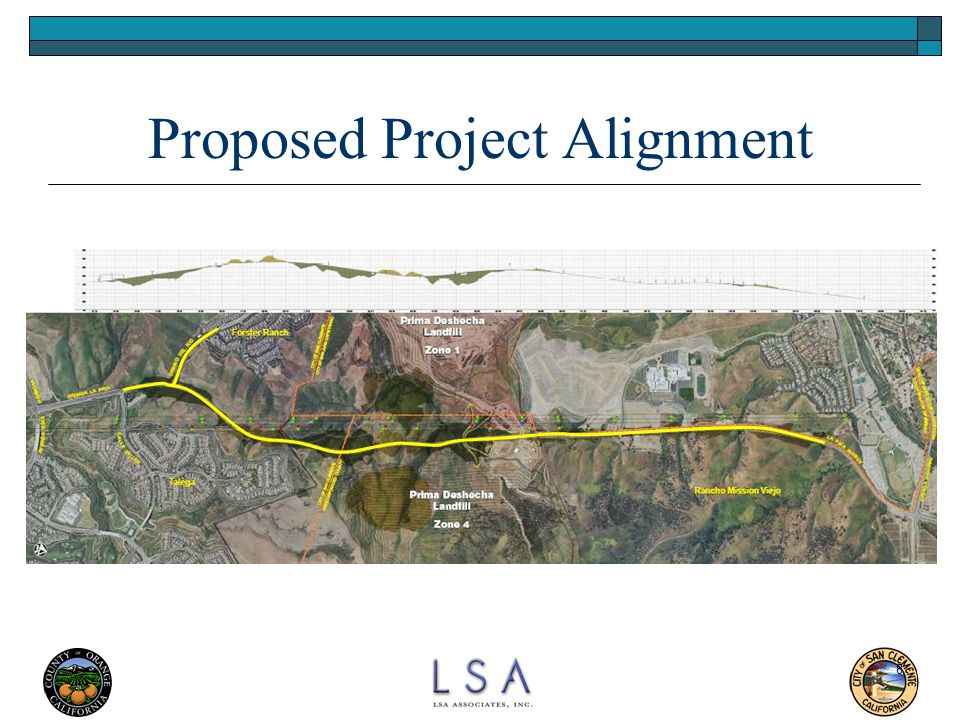 9 Proposed Project  Widen La Pata Avenue from three to five lanes from Ortega Highway to the existing road terminus at the Prima Deshecha Landfill (PDL) – a distance of 9,600 feet  Construct four new lanes from the existing PDL terminus to Calle Saluda – a distance of 10,100 feet  Extend Camino Del Rio, as a four-lane roadway, from its existing terminus to the proposed Avenida La Pata – a distance of 1,700 feet  Estimated Total Cost: $77,368,000