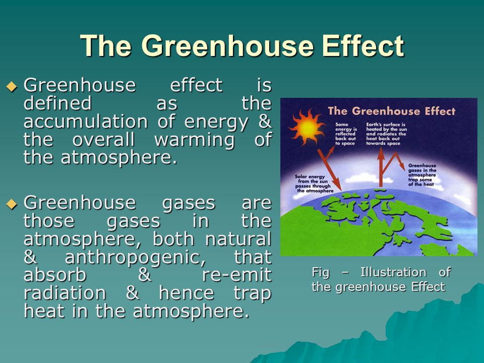 The Greenhouse Effect  Greenhouse effect is defined as the accumulation of energy & the overall warming of the atmosphere.