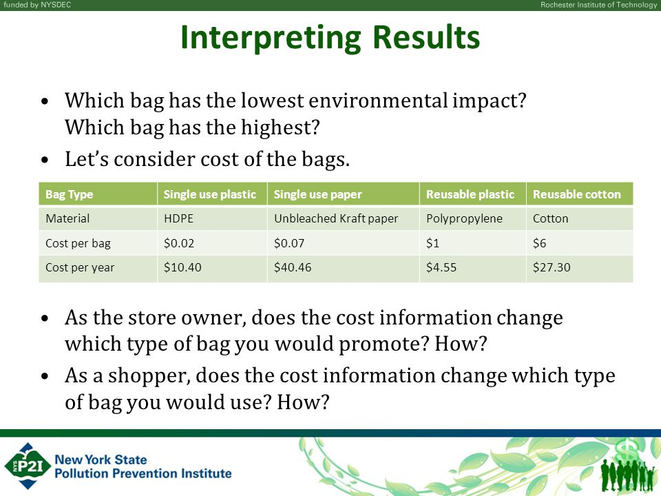 Interpreting Results Which bag has the lowest environmental impact.