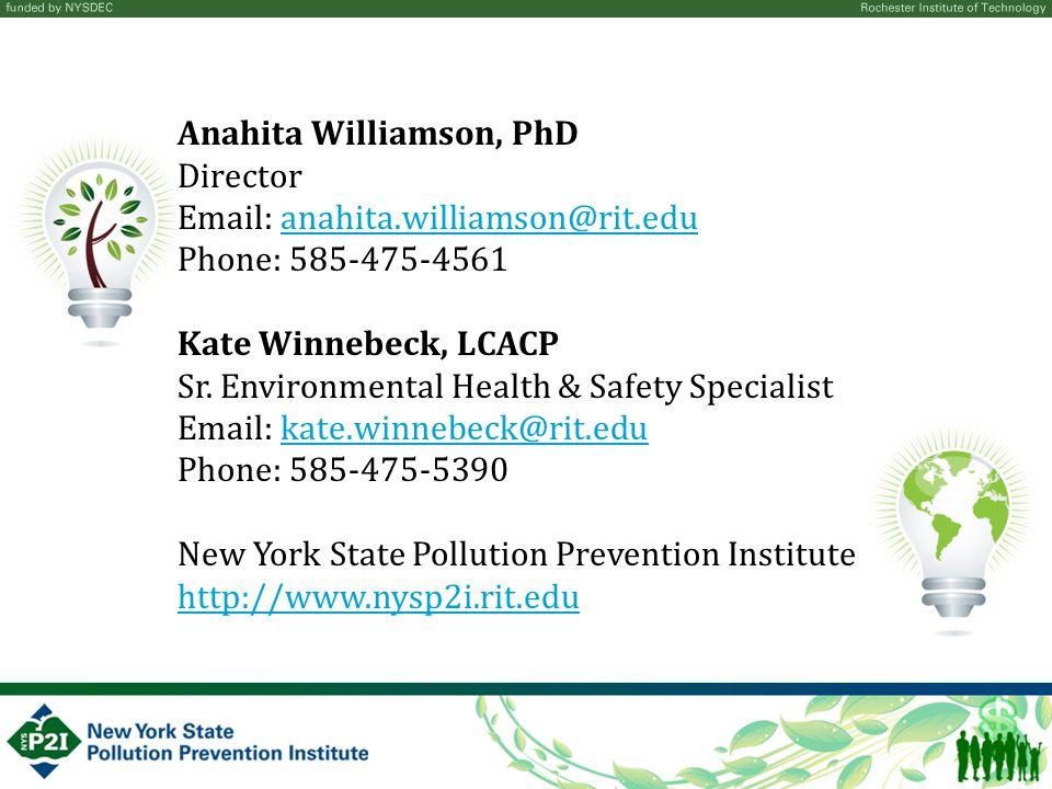 Anahita Williamson, PhD Director Email: anahita.williamson@rit.eduanahita.williamson@rit.edu Phone: 585-475-4561 Kate Winnebeck, LCACP Sr.