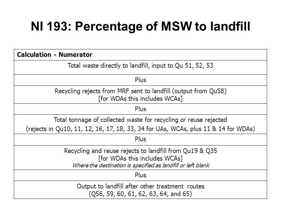 NI 193: Percentage of MSW to landfill Calculation - Numerator Total waste directly to landfill, input to Qu 51, 52, 53 Plus Recycling rejects from MRF sent to landfill (output from Qu58) [for WDAs this includes WCAs] Plus Total tonnage of collected waste for recycling or reuse rejected (rejects in Qu10, 11, 12, 16, 17, 18, 33, 34 for UAs, WCAs, plus 11 & 14 for WDAs) Plus Recycling and reuse rejects to landfill from Qu19 & Q35 [for WDAs this includes WCAs] Where the destination is specified as landfill or left blank Plus Output to landfill after other treatment routes (Q56, 59, 60, 61, 62, 63, 64, and 65)
