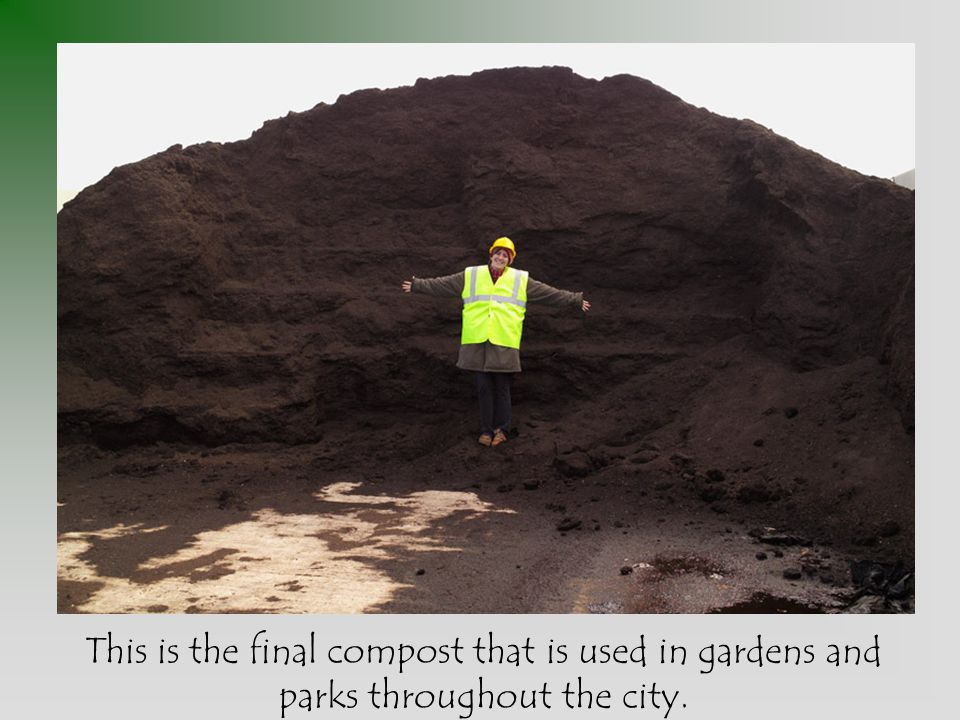 This is the final compost that is used in gardens and parks throughout the city.
