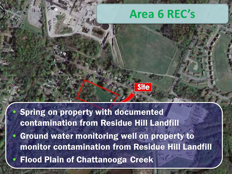 Area 6 Map Area 6 REC's Spring on property with documented contamination from Residue Hill Landfill Ground water monitoring well on property to monitor contamination from Residue Hill Landfill Flood Plain of Chattanooga Creek Spring on property with documented contamination from Residue Hill Landfill Ground water monitoring well on property to monitor contamination from Residue Hill Landfill Flood Plain of Chattanooga Creek