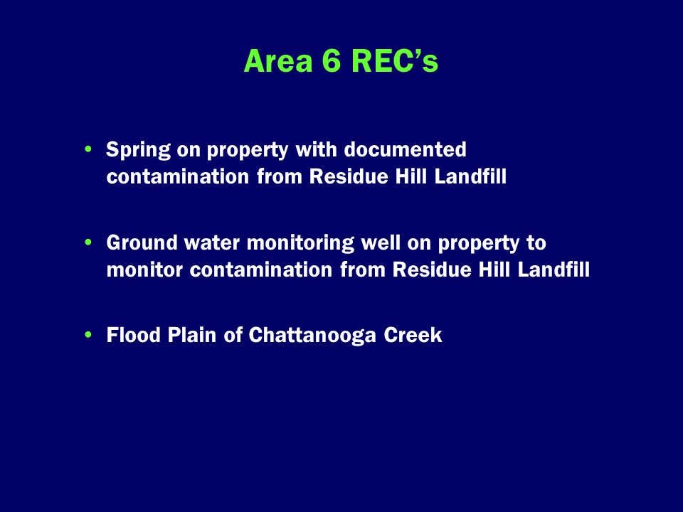 Area 6 REC's Spring on property with documented contamination from Residue Hill Landfill Ground water monitoring well on property to monitor contamination from Residue Hill Landfill Flood Plain of Chattanooga Creek