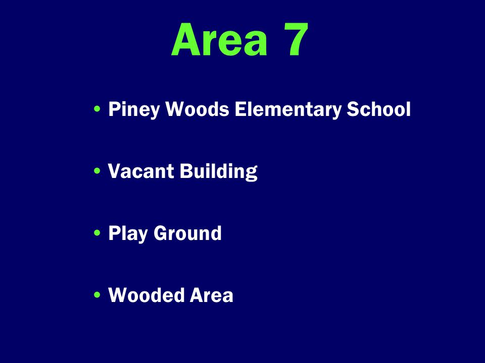Area 7 Piney Woods Elementary School Vacant Building Play Ground Wooded Area