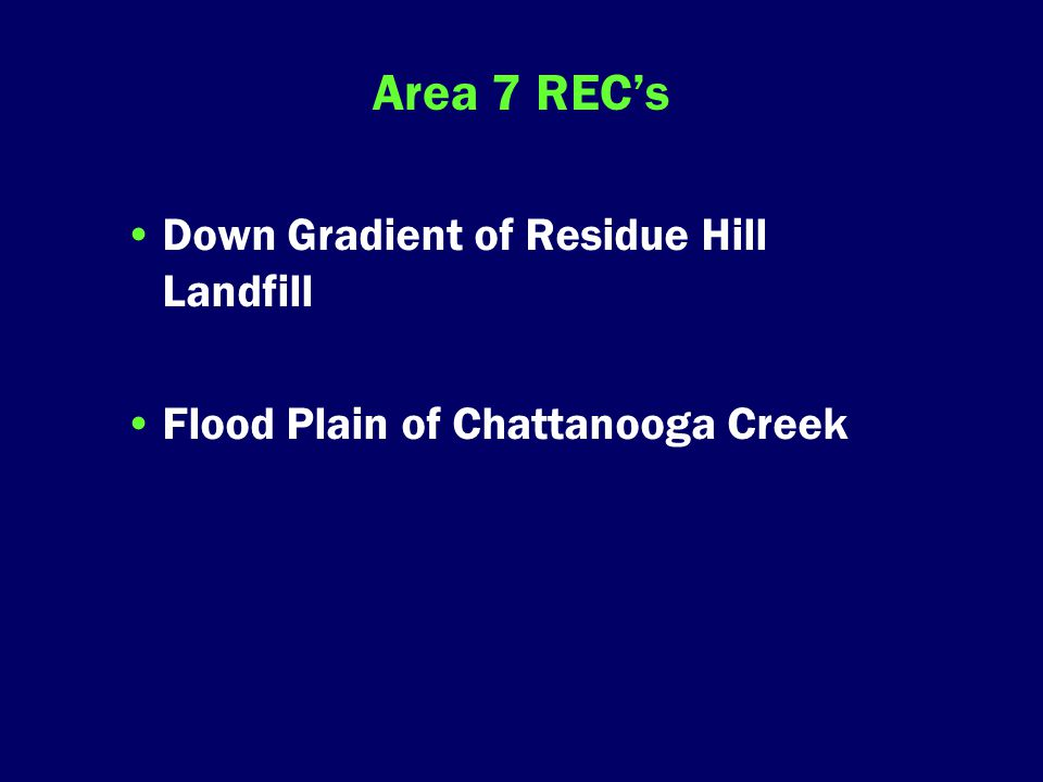 Area 7 REC's Down Gradient of Residue Hill Landfill Flood Plain of Chattanooga Creek