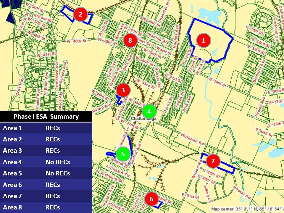 Phase I ESA Summary Area 1RECs Area 2RECs Area 3RECs Area 4No RECs Area 5No RECs Area 6RECs Area 7RECs Area 8RECs 1 2 3 8 4 5 6 7