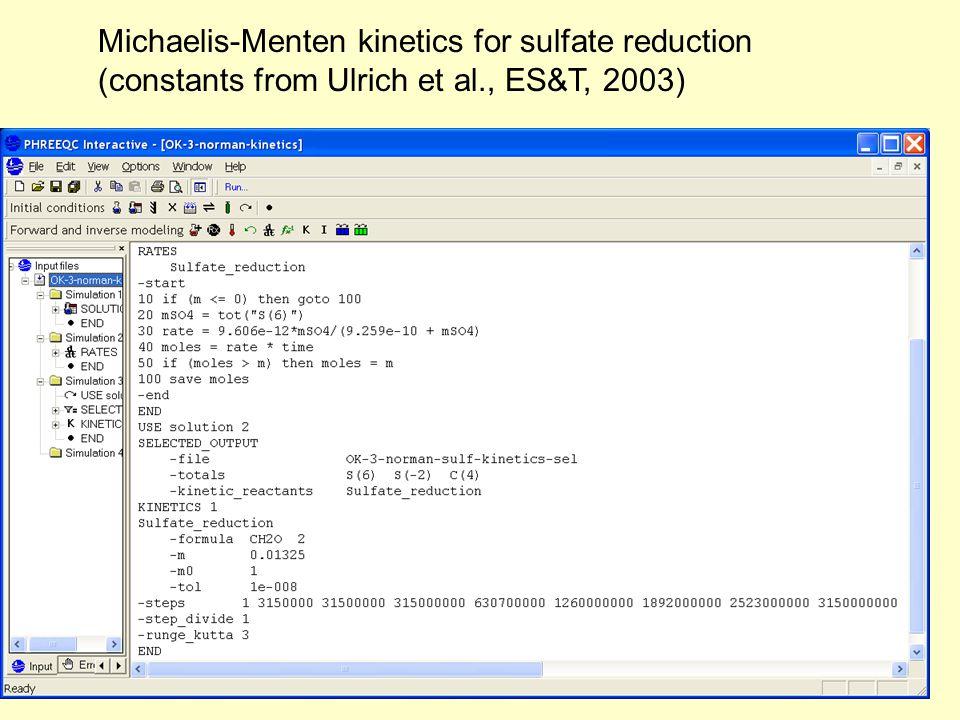 Michaelis-Menten kinetics for sulfate reduction (constants from Ulrich et al., ES&T, 2003)