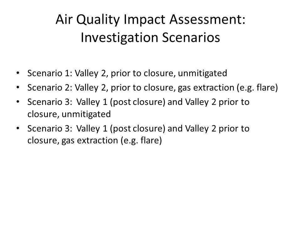 Air Quality Impact Assessment: Investigation Scenarios Scenario 1: Valley 2, prior to closure, unmitigated Scenario 2: Valley 2, prior to closure, gas extraction (e.g.