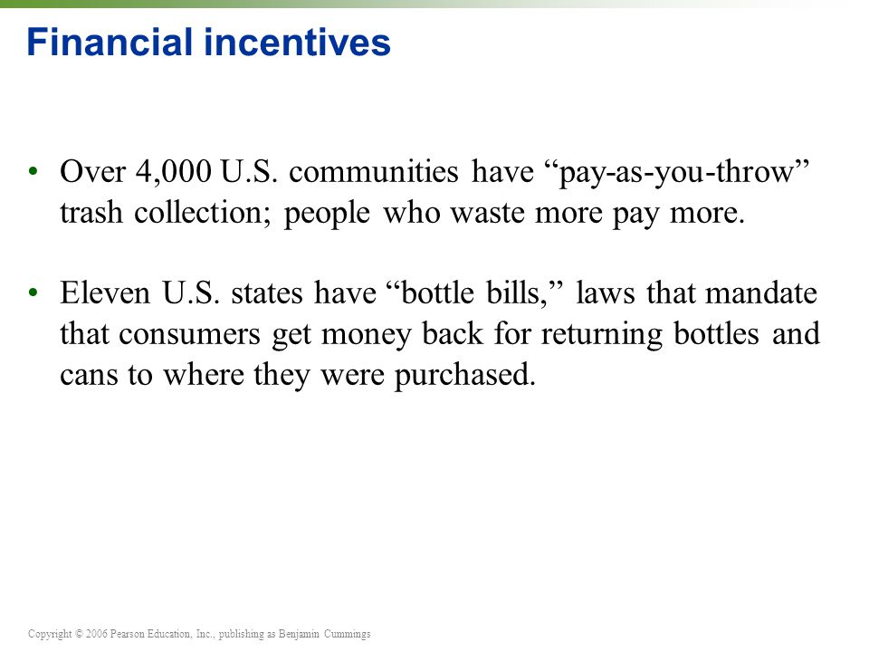 """Copyright © 2006 Pearson Education, Inc., publishing as Benjamin Cummings Financial incentives Over 4,000 U.S. communities have """"pay-as-you-throw"""" tra"""