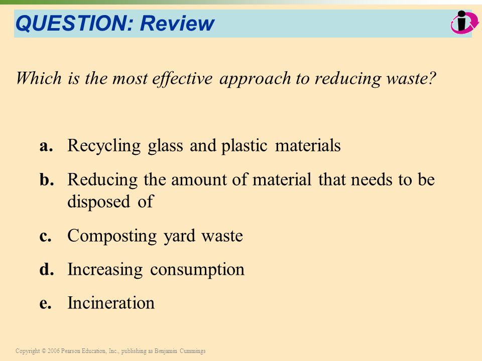 Copyright © 2006 Pearson Education, Inc., publishing as Benjamin Cummings QUESTION: Review Which is the most effective approach to reducing waste? a.R