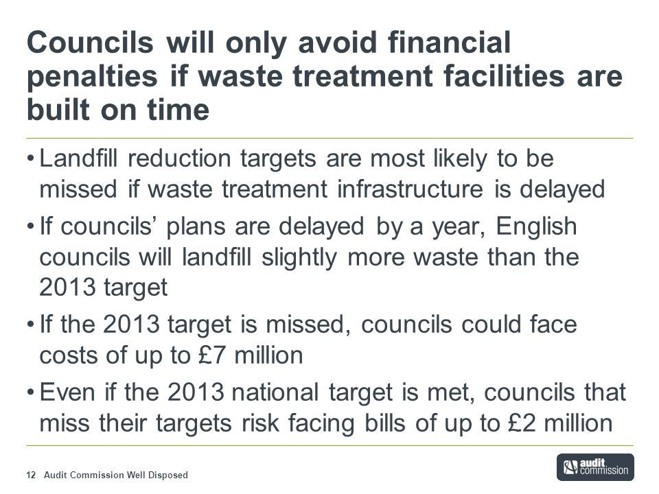 Audit Commission Well Disposed12 Councils will only avoid financial penalties if waste treatment facilities are built on time Landfill reduction targets are most likely to be missed if waste treatment infrastructure is delayed If councils' plans are delayed by a year, English councils will landfill slightly more waste than the 2013 target If the 2013 target is missed, councils could face costs of up to £7 million Even if the 2013 national target is met, councils that miss their targets risk facing bills of up to £2 million