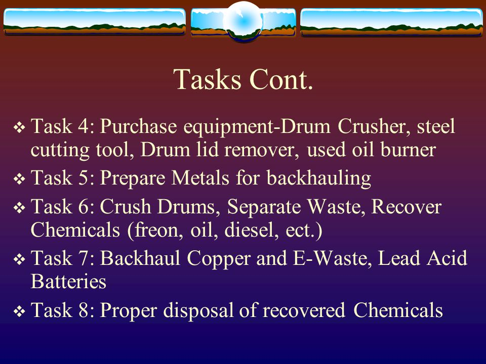 Tasks Cont.