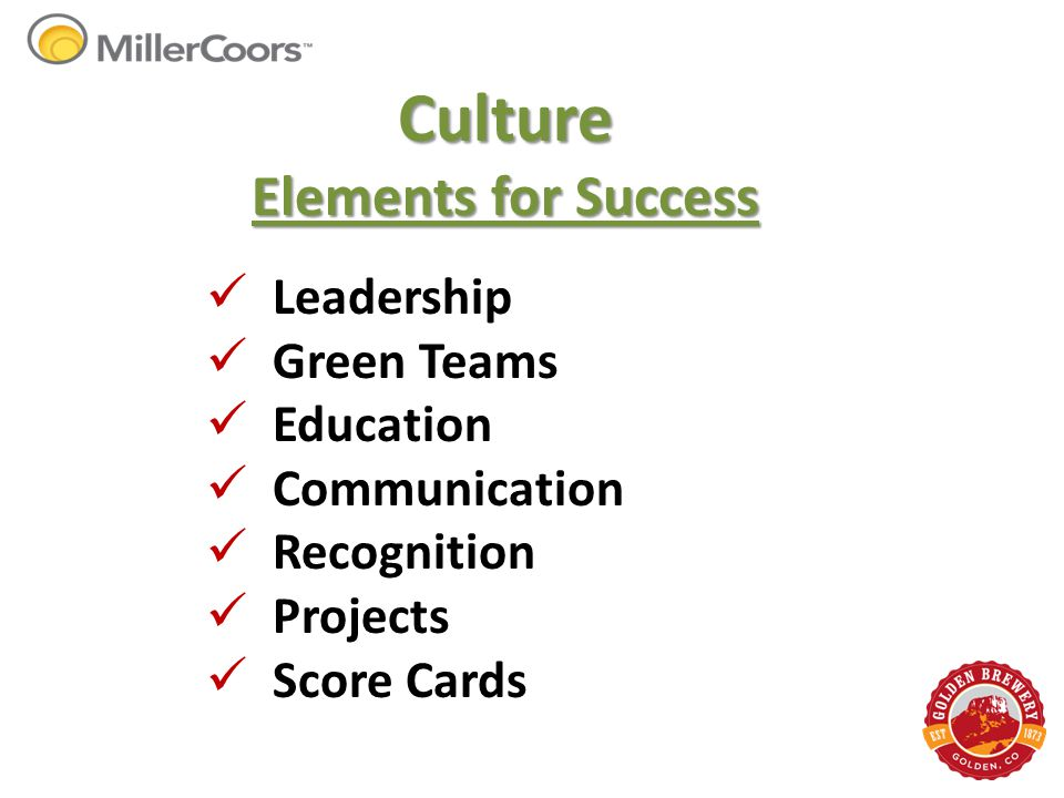 Culture Elements for Success Leadership Green Teams Education Communication Recognition Projects Score Cards