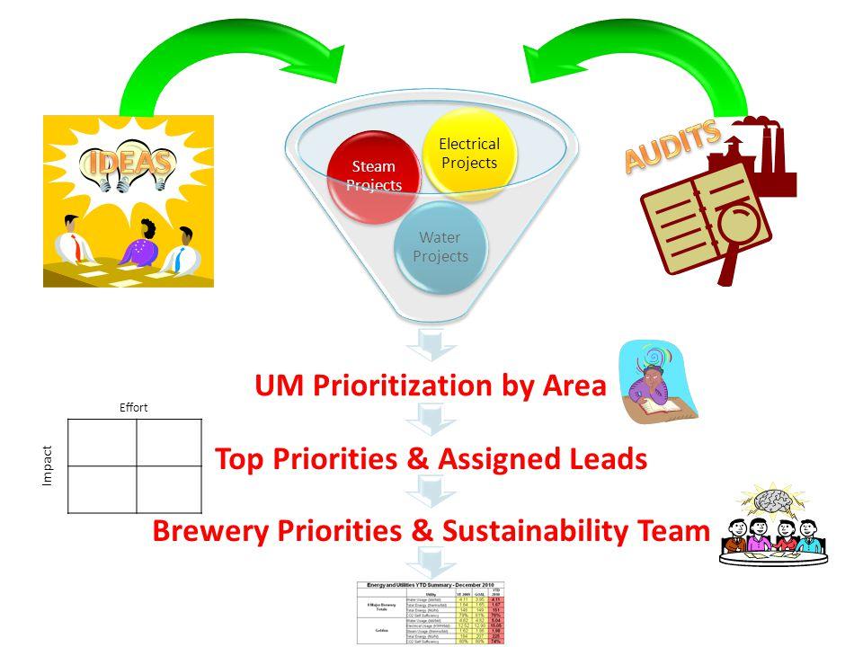 Top Priorities & Assigned Leads Brewery Priorities & Sustainability Team Effort Impact