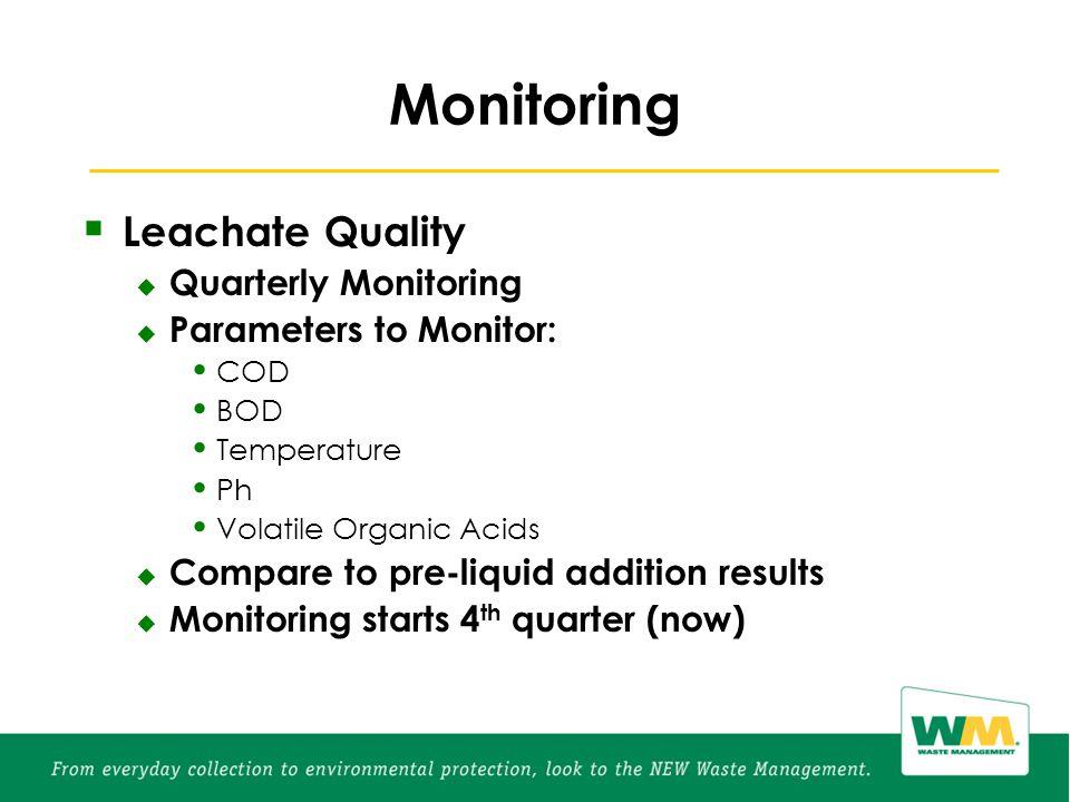 Monitoring  Leachate Quality  Quarterly Monitoring  Parameters to Monitor: COD BOD Temperature Ph Volatile Organic Acids  Compare to pre-liquid addition results  Monitoring starts 4 th quarter (now)
