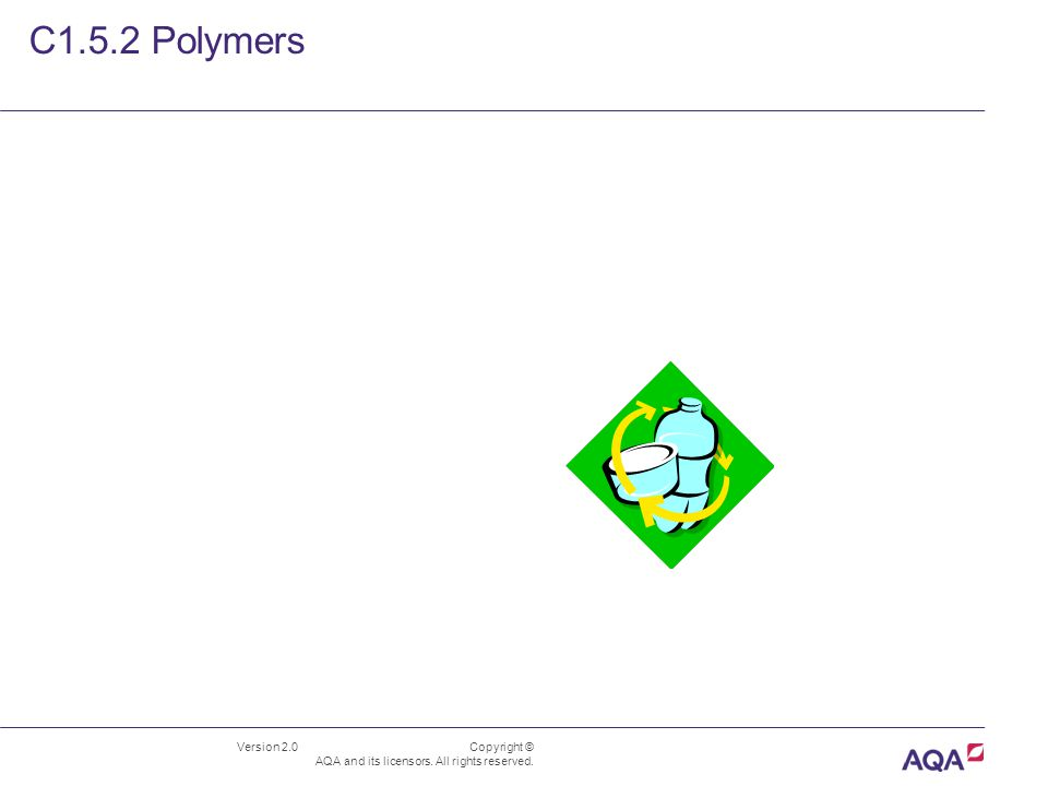 Version 2.0 Copyright © AQA and its licensors. All rights reserved. C1.5.2 Polymers
