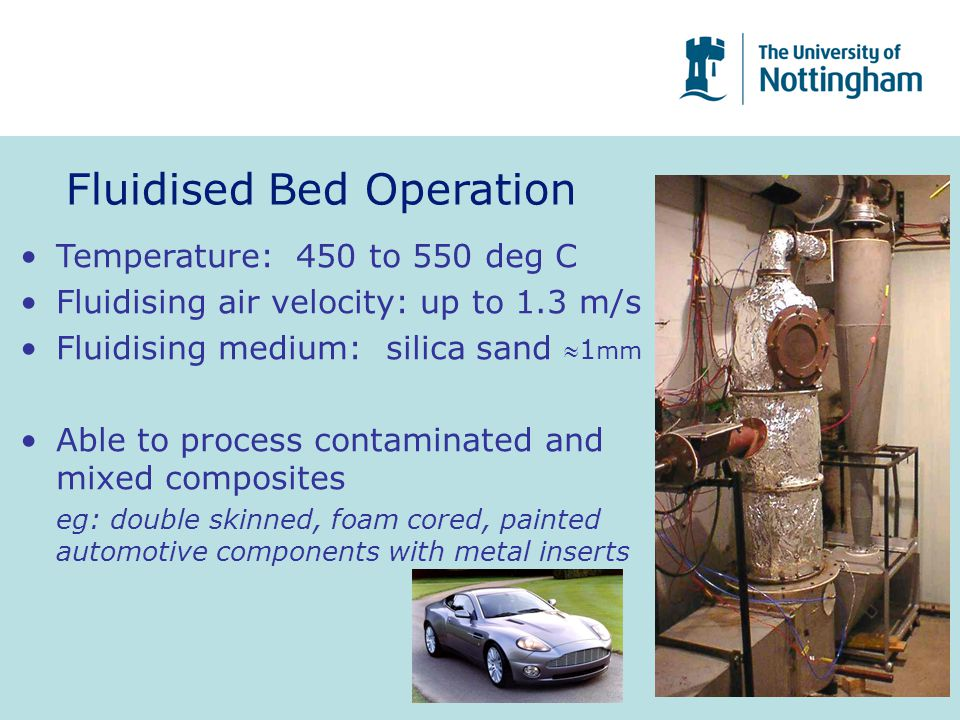 Fluidised Bed Operation Temperature: 450 to 550 deg C Fluidising air velocity: up to 1.3 m/s Fluidising medium: silica sand 1 mm Able to process cont