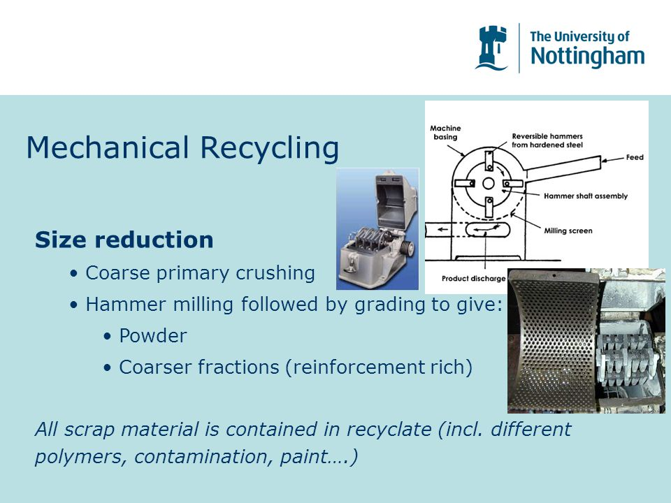 Mechanical Recycling Size reduction Coarse primary crushing Hammer milling followed by grading to give: Powder Coarser fractions (reinforcement rich) All scrap material is contained in recyclate (incl.