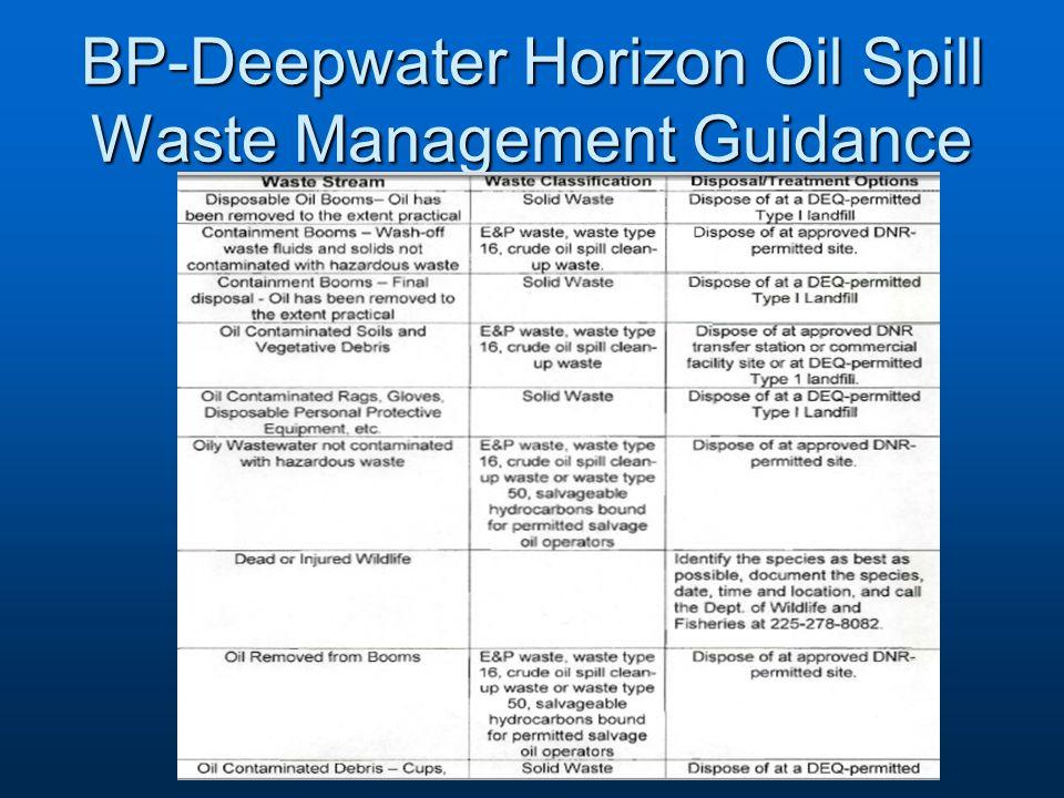 BP-Deepwater Horizon Oil Spill Waste Management Guidance