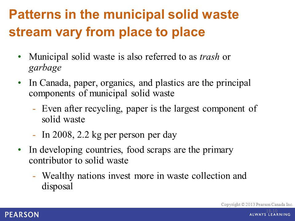 © 2010 Pearson Education Canada Copyright © 2013 Pearson Canada Inc. Patterns in the municipal solid waste stream vary from place to place Municipal s