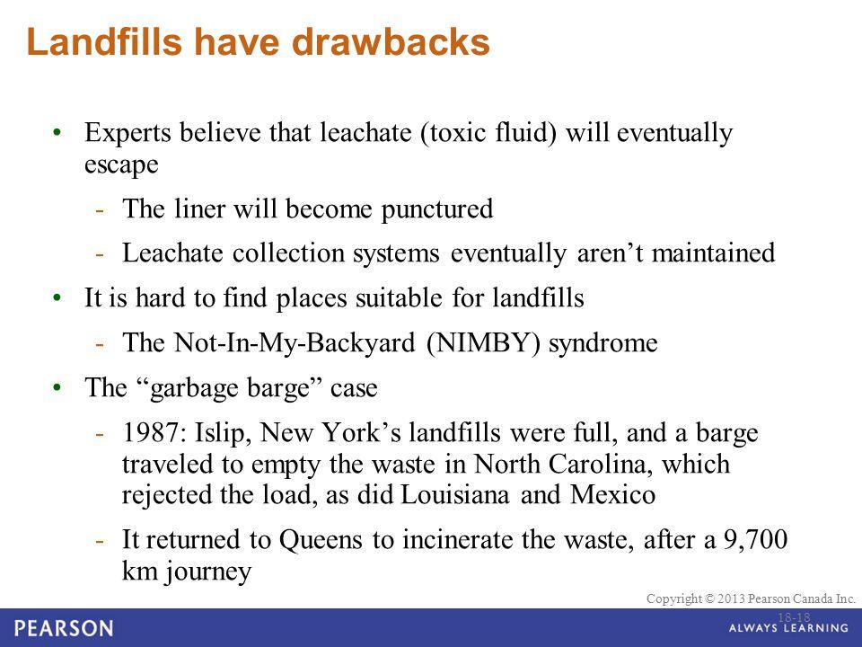 © 2010 Pearson Education Canada Copyright © 2013 Pearson Canada Inc. Landfills have drawbacks Experts believe that leachate (toxic fluid) will eventua