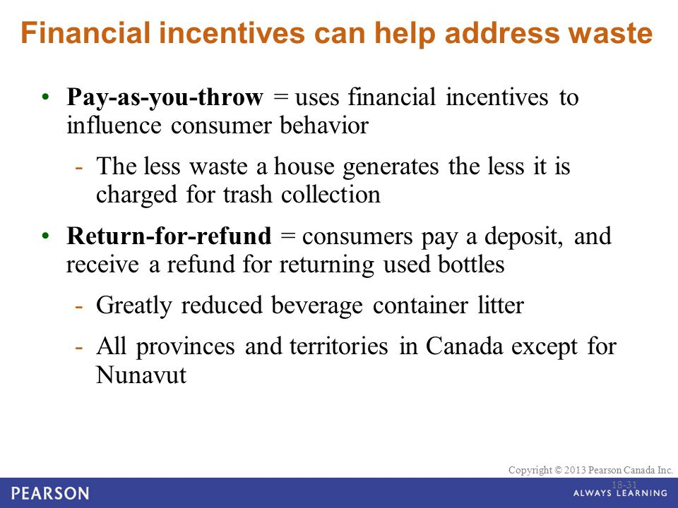 © 2010 Pearson Education Canada Copyright © 2013 Pearson Canada Inc. Financial incentives can help address waste Pay-as-you-throw = uses financial inc