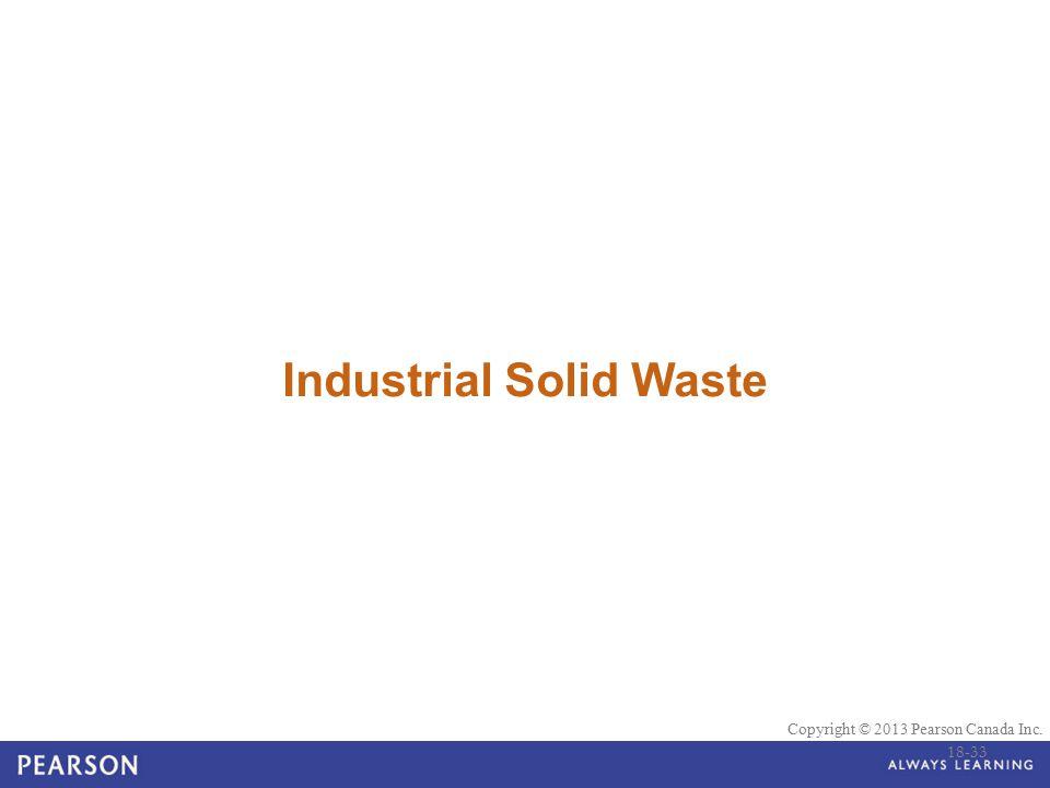 © 2010 Pearson Education Canada Copyright © 2013 Pearson Canada Inc. Industrial Solid Waste 18-33
