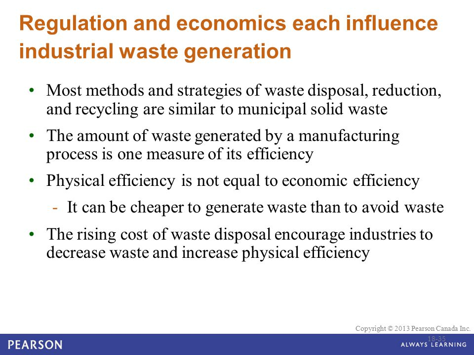 © 2010 Pearson Education Canada Copyright © 2013 Pearson Canada Inc. Regulation and economics each influence industrial waste generation Most methods