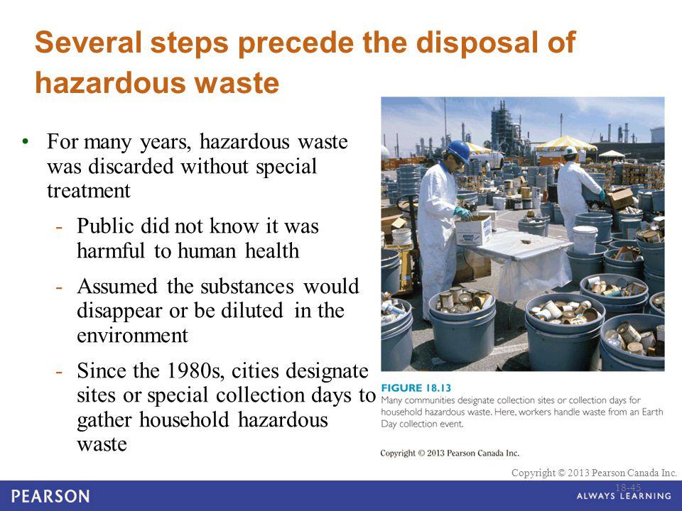 © 2010 Pearson Education Canada Copyright © 2013 Pearson Canada Inc. Several steps precede the disposal of hazardous waste For many years, hazardous w