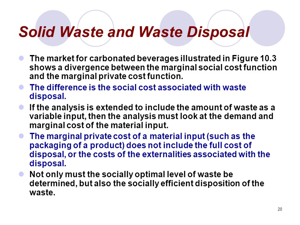 20 Solid Waste and Waste Disposal The market for carbonated beverages illustrated in Figure 10.3 shows a divergence between the marginal social cost function and the marginal private cost function.